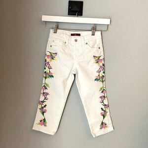 7 for all mankind 6X embroidered white jeans